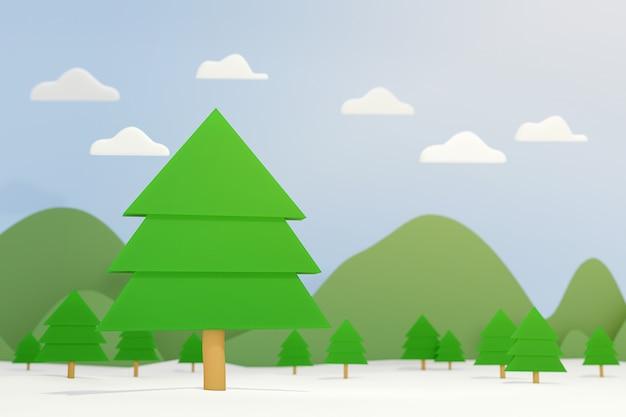Pijnboomboom op wintertijdlandschap, 3d illustratie natuurlijke scène.