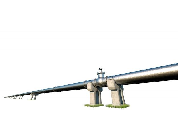 Pijpleiding die op een witte muur wordt geïsoleerd, die olie en gas door pijpen vervoert. technologie, politiek, grondstoffen, economie. kopieer ruimte. 3d render, 3d illustratie.