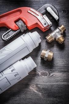 Pijptang koperen sanitairarmaturen rolden bouwplannen op
