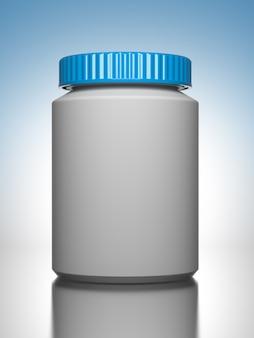 Pil fles op blauwe achtergrond het chemische of medische concept