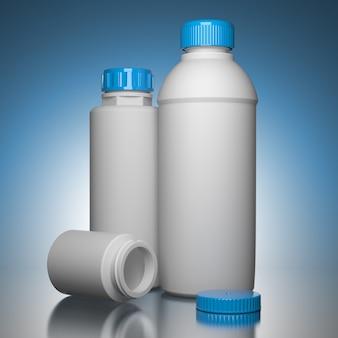 Pil flessen op blauwe achtergrond het chemische of medische concept
