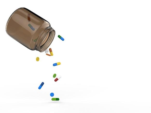 Pillen die uit fles op witte achtergrond morsen