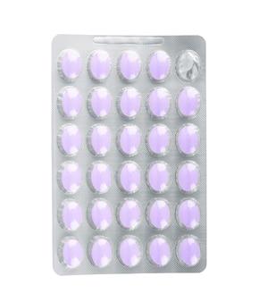 Pillen een pillenfles op witte achtergrond