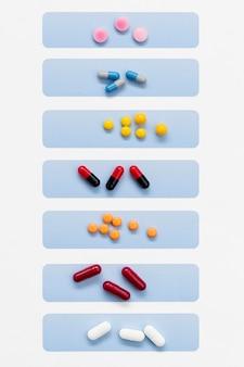 Pillen georganiseerd per dag