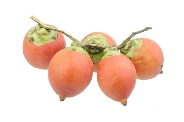 Pinangnoot of areca noot, op witte achtergrond wordt geïsoleerd die