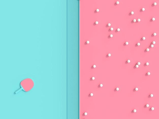 Ping pong thema 3d render afbeelding, ballen en racket op speltafel in twee kleuren
