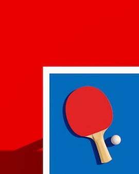 Pingpong of pingpongracket en bal op een lijst 3d illustratie. poster