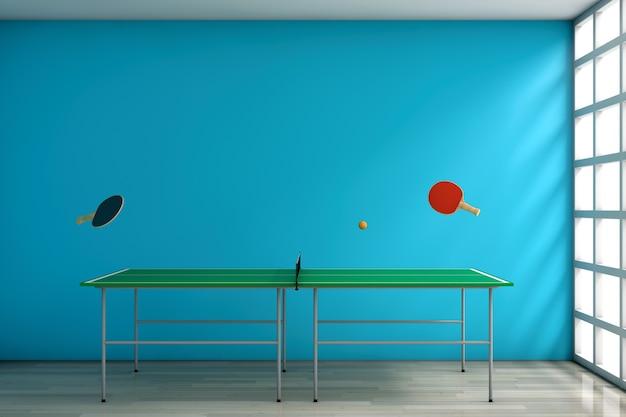 Pingpongtafel met peddels tegen een lege blauwe muur in de kamer. 3d-rendering