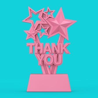 Pink award trophy met bedankje in duotone stijl op een blauwe achtergrond. 3d-rendering