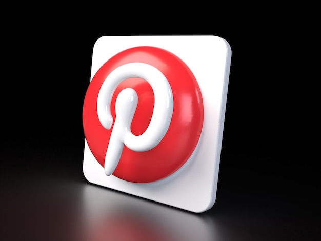 Pinterest cirkel logo pictogram 3d premium foto 3d glanzende matte weergave