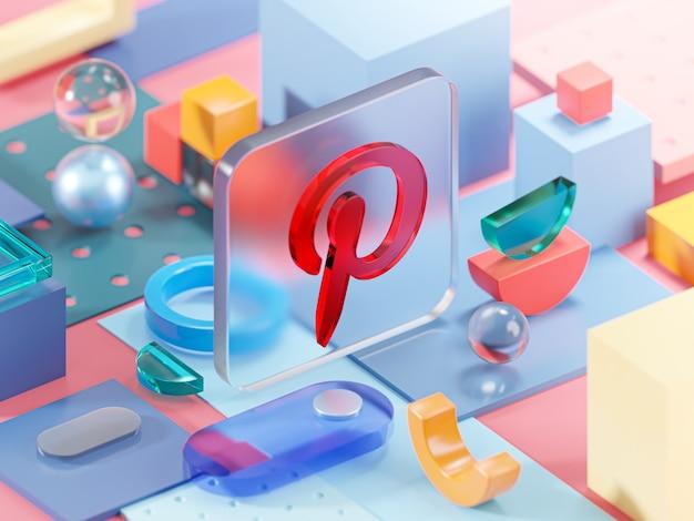 Pinterest glas geometrie vormen abstracte compositie kunst 3d-rendering