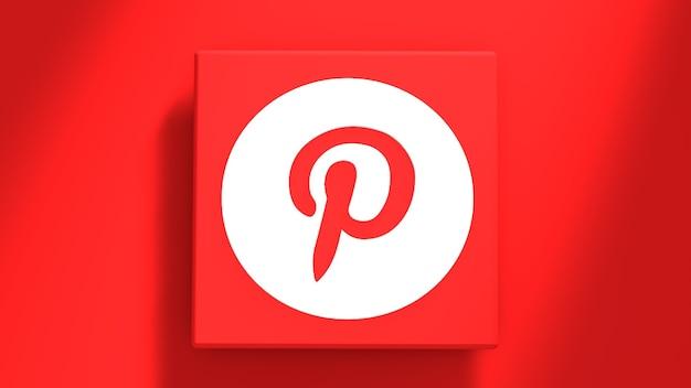 Pinterest logo minimaal eenvoudig ontwerpsjabloon. kopieer ruimte 3d