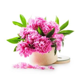 Pioenbloemen romantisch boeket van roze pioenrozen in geschenkdoos geïsoleerd op witte achtergrond