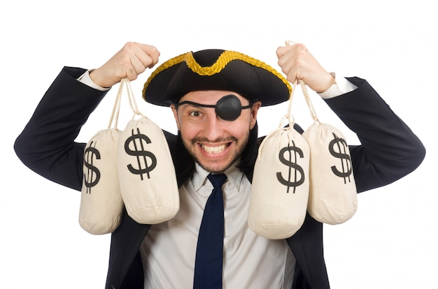 Piraat zakenman bedrijf geld zakken geïsoleerd op wit