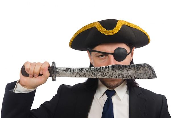 Piraatzakenman met sabel die op wit wordt geïsoleerd
