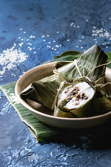 Piramidale dumplings van rijst