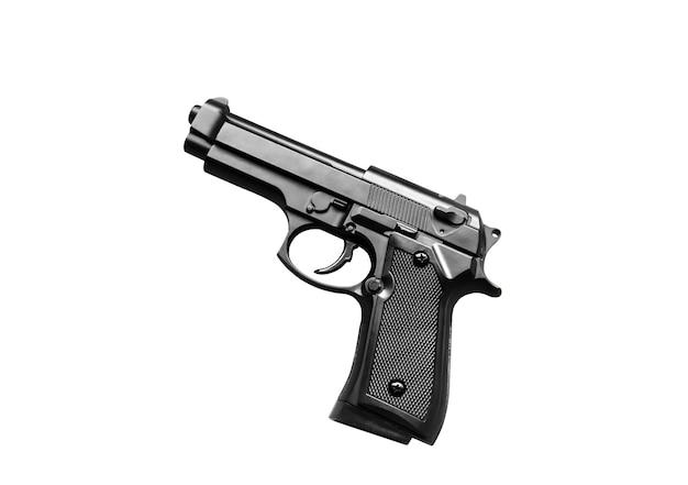 Pistool geïsoleerd op een witte achtergrond. legaliseren van wapens. misdaad concept.