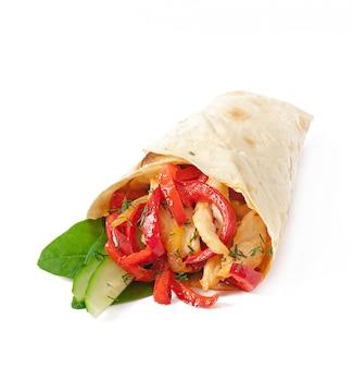 Pita gevuld met kip en paprika