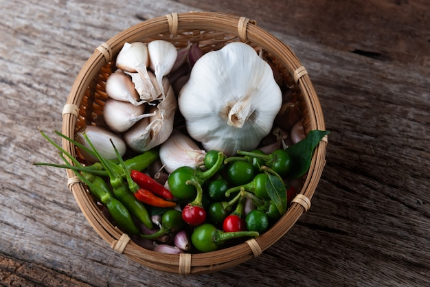 Pittige aziatische kruiden chili peper.