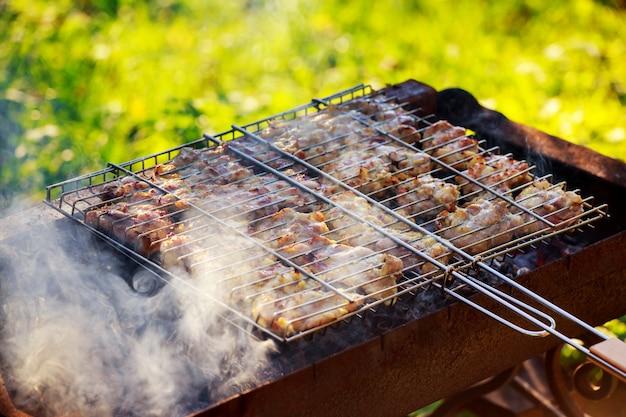 Pittige gemarineerde kippenboutjes koken boven het vuur