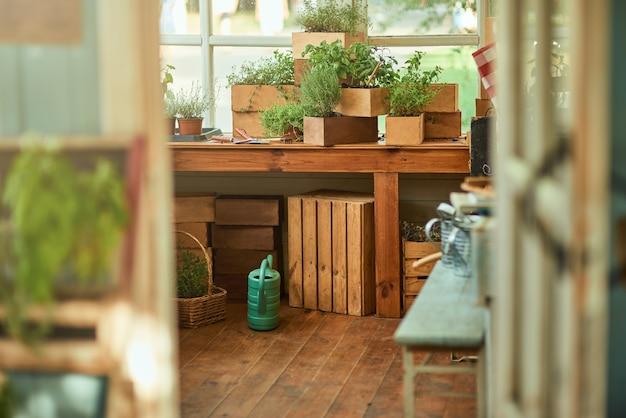 Pittige kruiden in houten potten op tafel bekeken door de deuropening