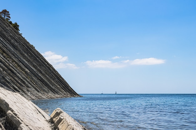 Pittoresk zomerlandschap op een heldere dag. stenen wild strand, enorme kliffen met pijnbomen en een heldere blauwe lucht met wolken.