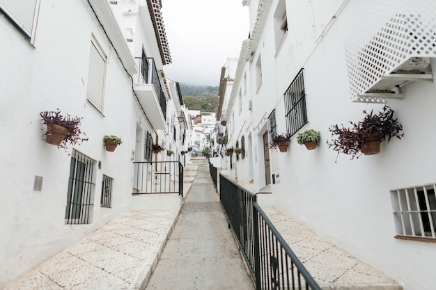 Pittoreske straat van mijas met bloempotten in gevels. andalusisch wit dorp. costa del sol. zuid-spanje.