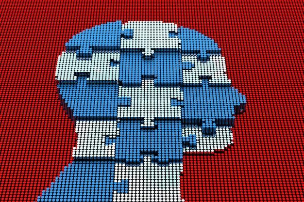 Pixel art menselijk hoofd met puzzel. 3d-rendering