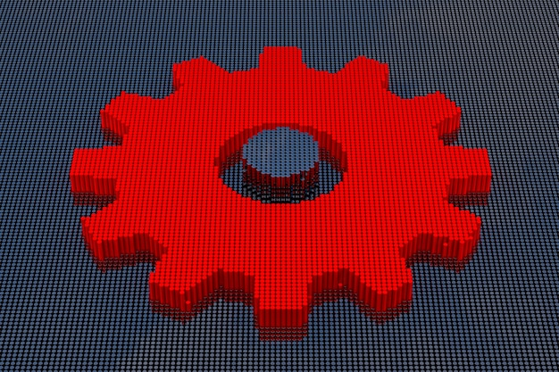 Pixel art-stijl tandwiel. 3d-rendering