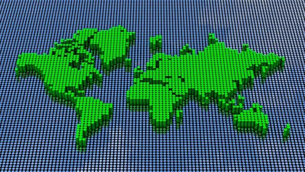 Pixel art stijl wereldkaart. 3d-rendering