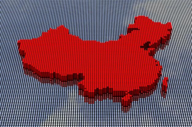Pixel art style china-kaart met china-vlagkleuren. 3d-rendering