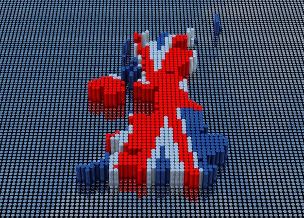Pixel art style engeland kaart met engeland vlag kleuren. 3d-rendering