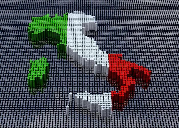 Pixel art style italië kaart met italië vlag kleuren. 3d-rendering