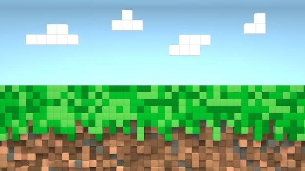 Pixelgras voor videogames en blauwe hemelachtergrond