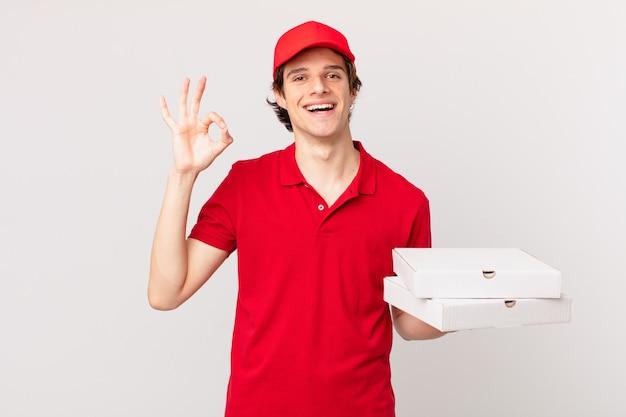 Pizza bezorger die zich gelukkig voelt, goedkeuring toont met een goed gebaar