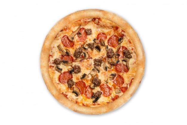 Pizza die op witte achtergrond wordt geïsoleerd. bovenaanzicht