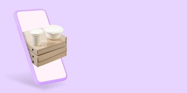 Pizza en koffie thuisbezorgd eten bestellen via internet onze smartphone