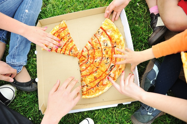 Pizza familie picknick