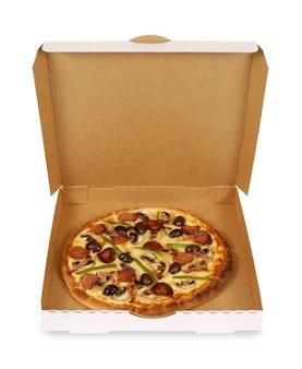 Pizza in gewone witte doos
