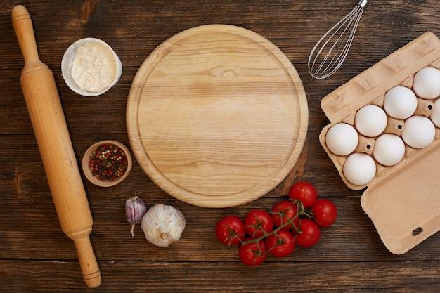 Pizza-ingrediënten plat