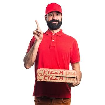Pizza levering man wijzen op