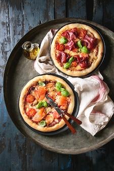 Pizza met bresaola en zalm