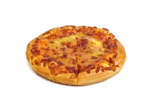 Pizza met kaas geïsoleerd