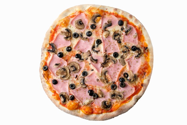 Pizza op witte achtergrond geïsoleerd boven weergave. heerlijke zelfgemaakte pizza bovenaanzicht.