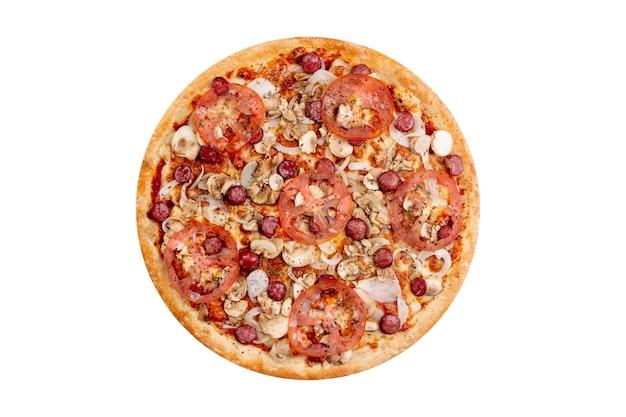 Pizza op witte achtergrond wordt geïsoleerd die. heet snel voedsel