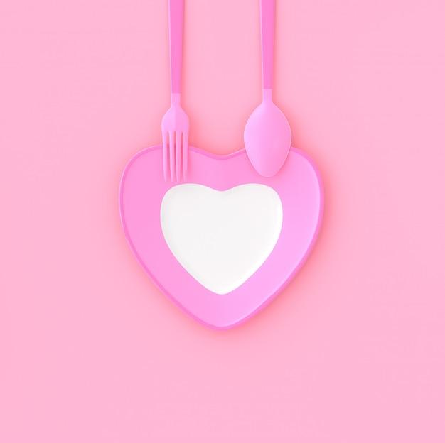 Plaat hartvorm met lepel en vork roze kleur. liefde idee concept, 3d render.