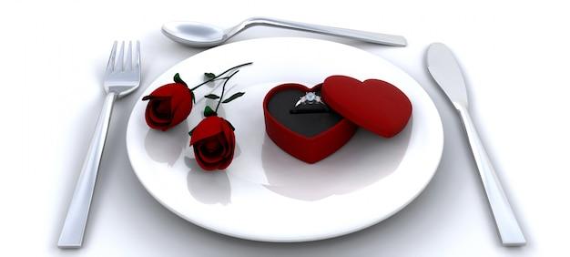 Plaats instelling met rode rozen en verlovingsring
