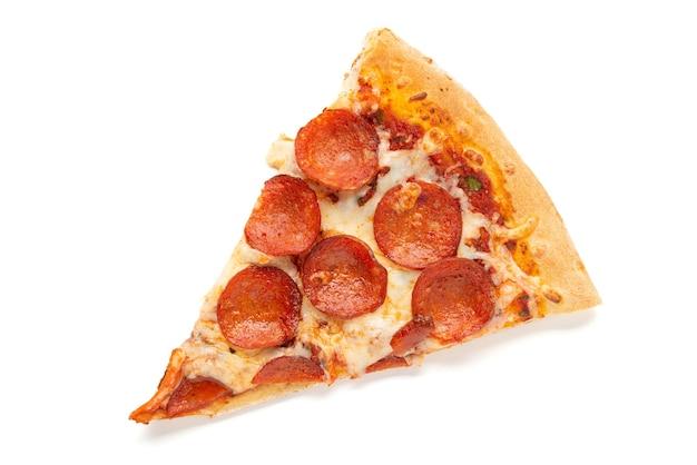 Plakje pizza geïsoleerd op wit