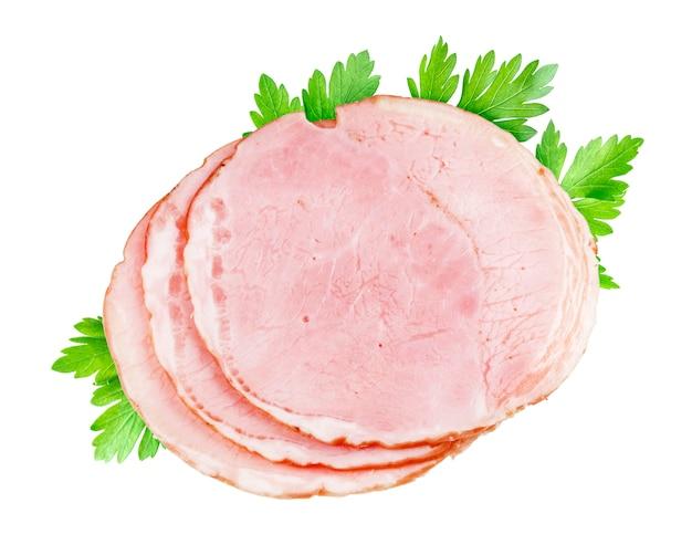 Plakken van gerookte ham die op wit worden geïsoleerd