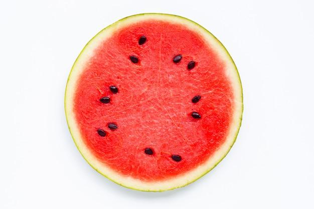 Plakken van watermeloen op wit worden geïsoleerd dat.